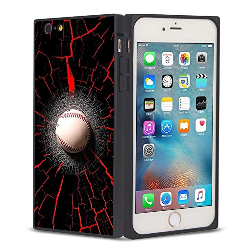 FAUNOW Funda cuadrada para teléfono iPhone 6/6S Plus Béisbol en la pared rota Anti-choque protectora flexible Premium cubierta para iPhone 6/6S Plus