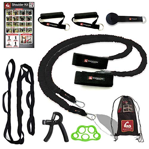ArmCare2Go Baseball/Softball/PT - Resistance Bands - Travel Bag,Bands,Door Anchor,Handles,Stretch Strap,Gain Velocity,Strength, (Black(College/Pro/Adult-Heavy Resistance))