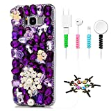 STENES Sparkle Case Compatible with Samsung Galaxy J2 Prime - Stylish - 3D Handmade Bling Pearl Flowers Pendant Butterfly Floral Design Cover Case with Cable Protector [4 Pack] - Purple