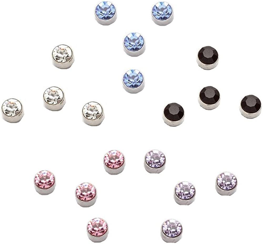 Black Clear Pink Lavender Rainbow Multi Color Crystals Magnetic Steel Stud Earrings 10 Pairs 3mm