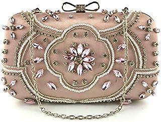 ハンドバッグ レディース ショルダーバッグ 女性レディース布のファブリッククリスタルビーズの花のクラッチイブニングバッグパーティーウェディングカクテルの財布のハンドバッグ取り外し可能なチェーンストラップ トートバッグ