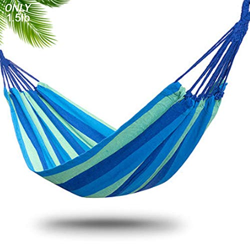 WCBDUT Garden Camping Hammock 260 x 100 cm, Portable Hammock – Perfect for Camping & Outdoors or Gardens and Travel – Max Load 150kg (Single hammock BLUE)