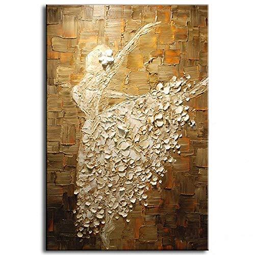 HUANGRONG Pintado a Mano Moderno del bailarín de Ballet Cuadro Abstracto del Cuchillo de Paleta Pintura al óleo del Arte de la Lona hogar de la Pared Decoración for Sala de Estar Pintura al óleo