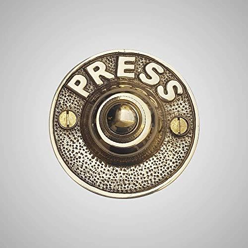 Magnus Home Products Cast Brass Press Doorbell Ringer, Polished Brass, 2.0 lb