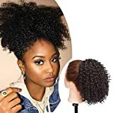 SEGO Moño Postizo Rizado Afro Puff Pelo Sintético Se Ve Natural [Negro Natural] Coleta Postiza Corta para Mujer Extensiones de Cabello Clip Pelucas (130g)