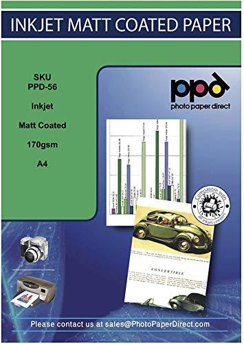 PPD A4 x 100 Hojas de Papel Fotográfico Mate de Calidad Profesional, 170 g/m2 y Secado Instantáneo, para Todas Impresoras de Inyección de Tinta Inkjet - PPD-56-100