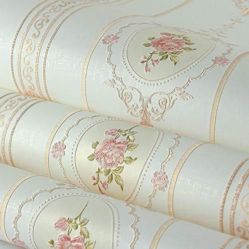 Aodaili Garten Schlafzimmer Wohnzimmer Wand Stereo romantisch rosa warmes Vlies Prägetapete, beige