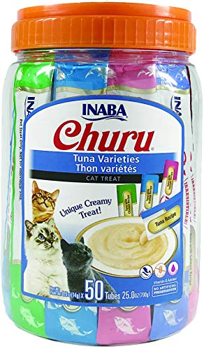 INABA Churu Lickable Purée Wet Treat for Cats | Playful Hand Feed or as Food Topper | Grain Free, Preservative Free, with Added Vitamin E and Green Tea | 50 Tube Tuna Variety Pack