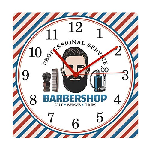 hufeng Reloj de Pared Barbershop Barber Pole Pattern Mute Square Reloj Colgante de Pared Cepillo de Pelo Sillón Cepillado Corte Tienda Relojes Decorativos Reloj