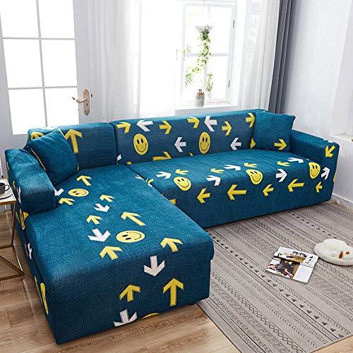 Fsogasilttlv Funda Cubre Sofá Chaise 2 plazas, Fundas elásticas de Licra, Funda para sofá, Toalla elástica para sofá, Fundas para sofá de Esquina para Sala de Estar, Azul