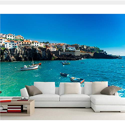 Meaosy Portugal Huizen Zee Boten Kust Stad Fotobehang, Woonkamer Tv Sofa Muur Slaapkamer Restaurant Bar 3D Mural 150x120cm