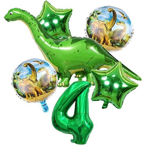 DIWULI, Gran Juego de Globos de Dinosaurios, 1x Globo Gigante de Dinosaurios + XL número 4 número de Globo Verde + 2X Globo de Estrellas + 2X Globo de Papel de Aluminio 4º cumpleaños del niño