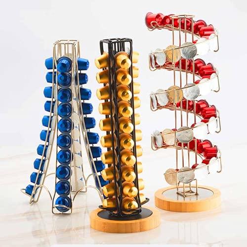Porta caffè con base in legno Nespresso, con display girevole in acciaio inox e metallo girevole