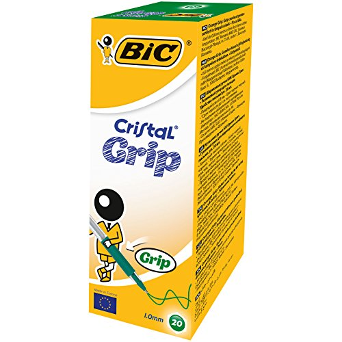 BIC Cristal Grip - Pens with lid (0,4 mm stroke, 20 units), green color
