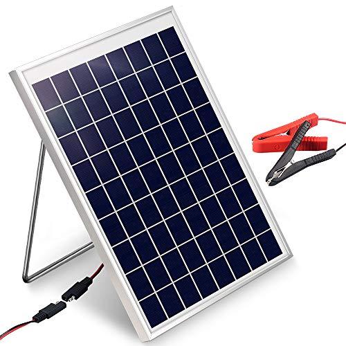 Kit de cargador de batería de panel solar de 10 W y 12 V con abrazadera de cable de batería, ideal para RV automotriz, motocicleta, barco, marina, etc.