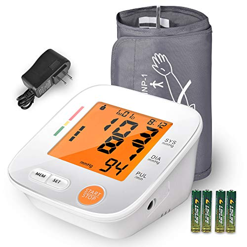 Blood Pressure Monitor Upper Arm, AlphagoMed Automatic Blood Pressure Monitor Large Cuff 9-17 inches, Digital Bp Cuff for Home Use,2 * 90 Memory Mode, Batteries and AC Adapter Included - FDA Approved