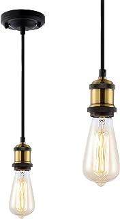 ZOOSSI Pendant Light Cord, DIY Pendant Light Kit Industrial E26 E27 Base Edison, Vintage Pendant Kit 15.58', Adjustable Mini Pendant Light Fixture for Farmhouse,Kitchen, Front Entry Chandelier Black