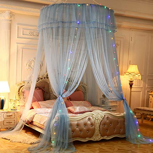 Mosquito Protection Lace Bed Canopy Klamboe met LED-licht Houdt Insecten Muggen Flies Away slaapkamer decoratie Dome Princess Room Tent,E