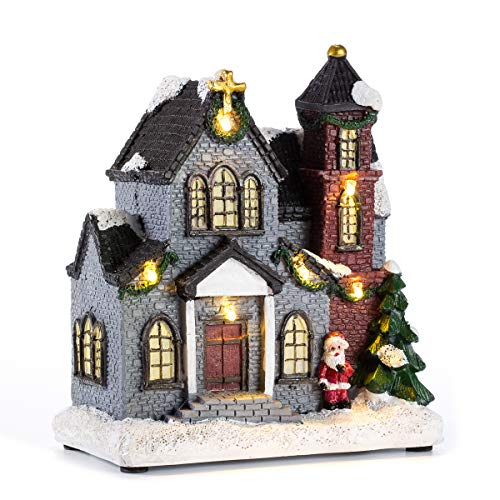 Christmas Church Village Lit House - LED Lighted Christmas Collectible Buildings 6 inch Battery Operated