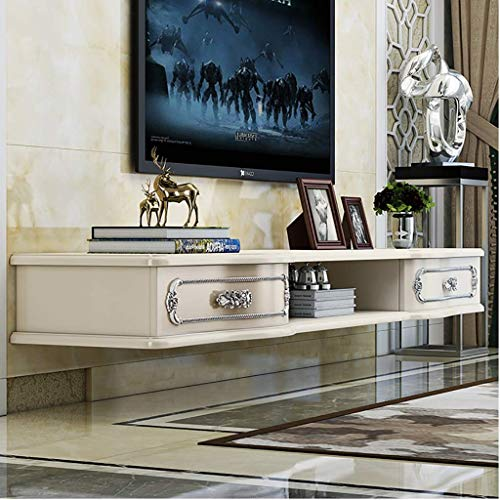 JHSHENGSHI Floating Shelves High Gloss TV Stand Entertainment Cabinet With 2 Drawers,Media Unit, Entertainment & Console Table,Can Be Placed Apple TV, Router