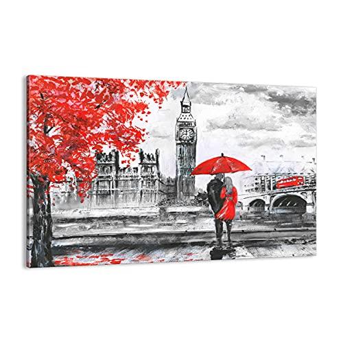 Quadro su tela - Elemento unico - Londra l'architettura il Big Ben - 120x80cm - Pronto da appendere - Home Decor - Stampe su Tela - Quadri Moderni - completamente incorniciato - AA120x80-3153