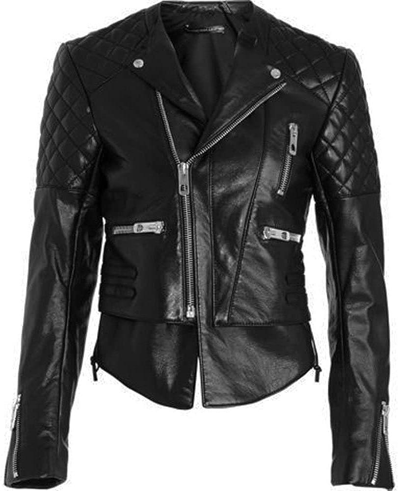 UGFashions Women's Brando Miranda Quilted Motorcycle Zipper Style Biker Black Leather Jacket