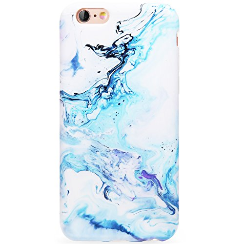DICHEER iPhone 6 Case,iPhone 6s Case,Cute Blue White Marble Women Girls Slim Fit Thin Clear Bumper Glossy TPU Soft Rubber Silicon Cover Best Protective Phone Case iPhone 6 iPhone 6s