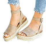 Gibobby Sandals for Women Dressy,Womens Open Toe Ankle Strap Platform Wedge Shoes Casual Espadrilles Trim Flatform Studded Wedge Sandals