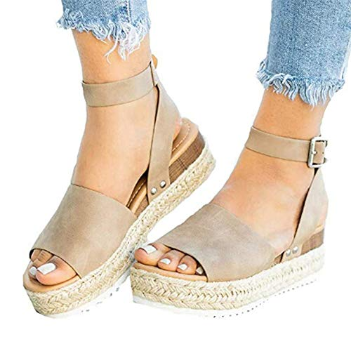 Espadrilles Wedges for Women Wide Width,Flat Wedge Ankle Buckle Sandals with Strap Fashion Summer Beach Sandals Open Toe Platform