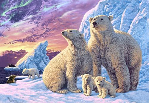 FAWFAW Jigsaw Puzzle 500 Pieces, Polar Bears,Romantic Sun Glow Kids Toys Gifts