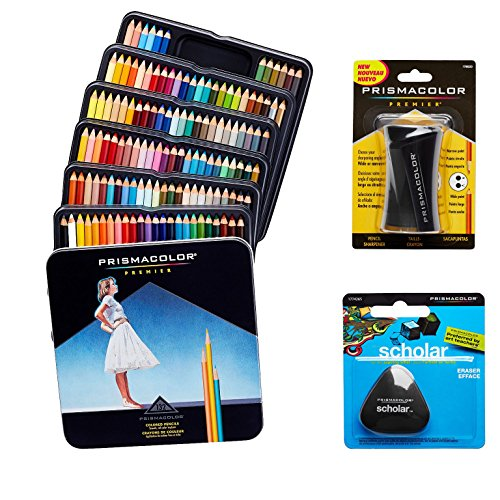 Prismacolor Quality Art Set - Premier Colored Pencils 132 Pack, Premier Pencil Sharpener 1 Pack and Latex-Free Scholar Eraser 1 Pack