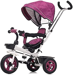 Children's folding tricycle boys and girls baby bicycles kids bicycle trolleys children bicycles (Color : Pink) JB-Tong