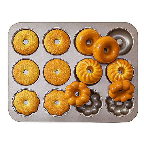 12 Cavity Donut Baking Pans,Mini Non Stick Fluted Cake Pan Carbon Steel Nonstick Donut Molds Baking Tray or Donut Cake Biscuit Bagels
