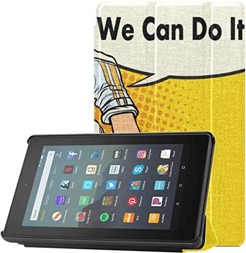 Funda para Tableta Fire 7 Astronaut Man Meditando música Yoga Kindle Fire Funda Protectora para Tableta Fire 7 (novena generación, versión 2019) con Reposo/Despertar automático