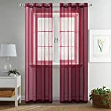 MIULEE 2 Panels Solid Color Wine Red Sheer Curtains Elegant Grommet Top Window Voile Panels/Drapes/Treatment...