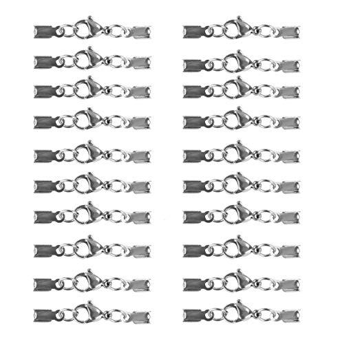 JZK 20 x Silber Edelstahl Karabinerverschluss Schmuckverschlüsse mit Karabiner für ca. 3 bis 3,5mm Bänder, Schmuck Herstellung Zubehör für DIY Armbänder Anhänger Halsketten Schlüsselbunde Halsreifen
