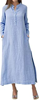 Corsion Maxi Vestido de algodón y Lino de Manga Larga para Mujer, Vestido Casual de Verano para la Playa