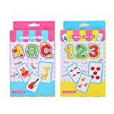 Gnc33Ouhen 2Pcs Children Caroon English Alphabet Letters and Numbers Flash Paper Card Educational Toy Best for Kids in Kindergarten, 1ST, 2ND, 3RD, 4TH, 5TH and 6TH Grade 2pcs