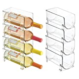 mDesign Plastic Free-Standing Water Bottle and Wine Rack Storage Organizer for Kitchen Countertops, Table Top, Pantry, Fridge - Stackable, Holds 1 Bottle Each - 8 Pack - Clear