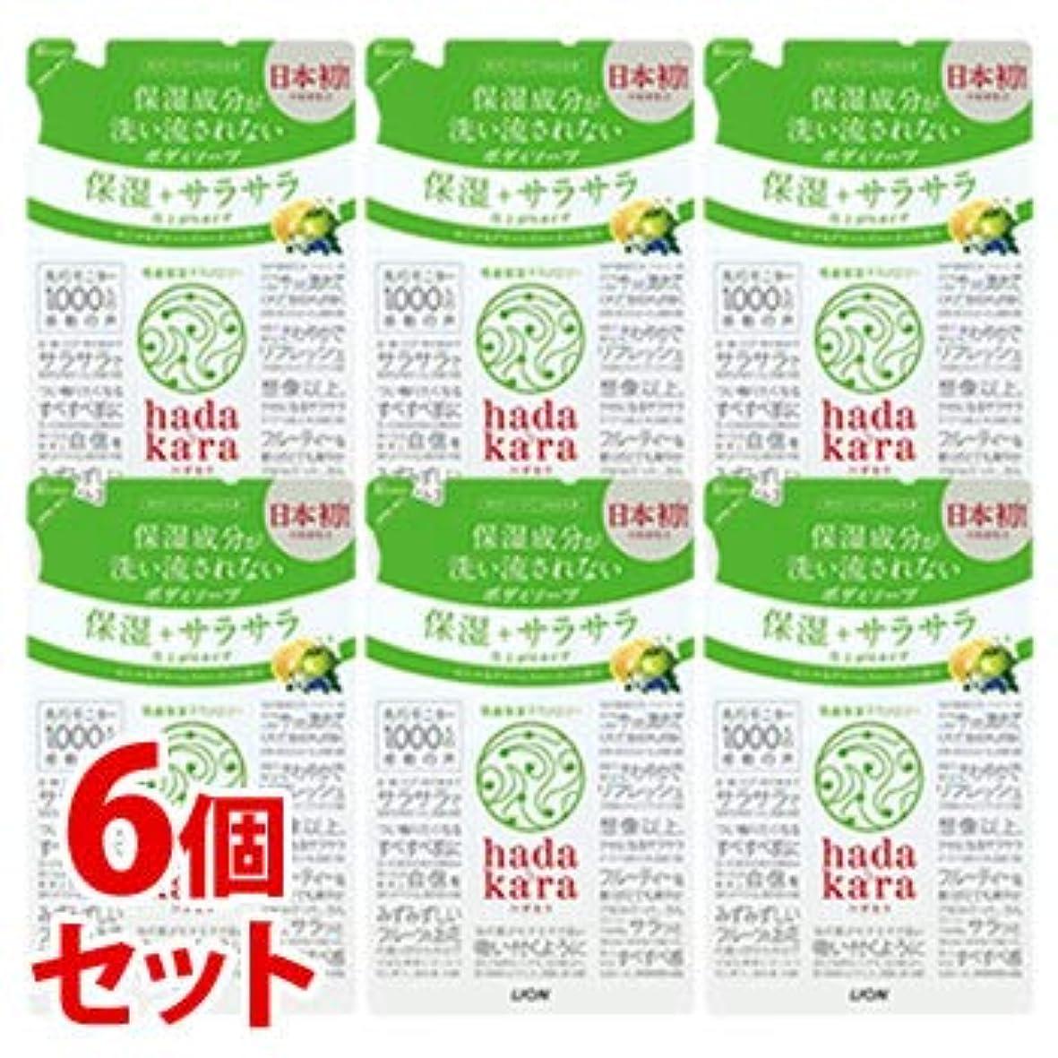 カヌー会議狂った《セット販売》 ライオン ハダカラ hadakara ボディソープ 保湿+サラサラ仕上がりタイプ グリーンフルーティの香り つめかえ用 (340mL)×6個セット 詰め替え用