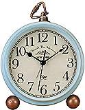 Attoe Kleine Uhr,Tisch Uhr, Vintage Nicht Tisch Schreibtisch Wecker batteriebetrieben mit Quarzwerk HD Glas für Schlafzimmer/Wohnzimmer/Kinder (Blau)