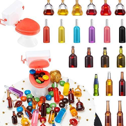 21 botellas de vino en miniatura con 1 pieza mini decoración para tartas de casa de muñecas y accesorios para tartas divertidos