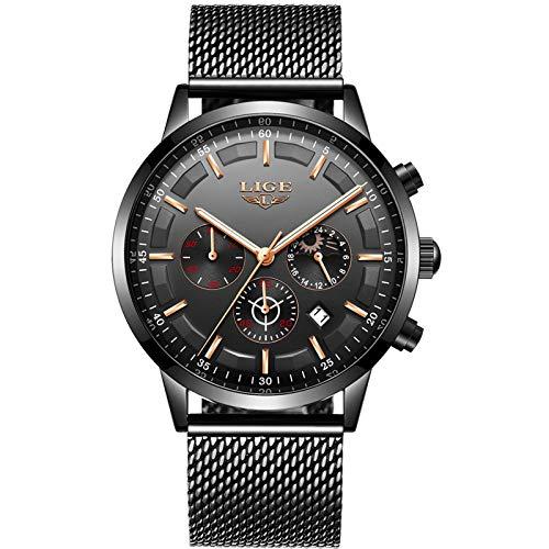 LIGE Herren Uhren Wasserdicht Chronograph Schwarz Edelstahl Herrenuhr Analog Quarz Kalender Mondphase Armbanduhr Männer