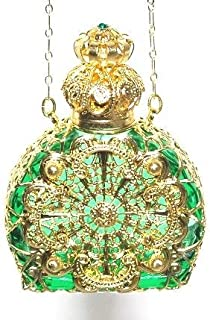 Czech Jeweled Decorative Green Perfume Oil Bottle Holder Necklace/pendant