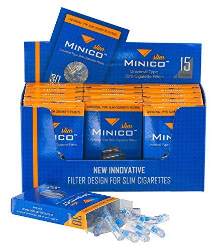 MINICO All-in-One Premium Slim Zigarettenfilter in Box (geeignet für 5-6-7 mm Zigaretten) 450 Stück