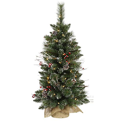 Vickerman B106237 3' Snow Tipped Pine and Berry Artificial Christmas Tree with 50 Clear Lights (Renewed)