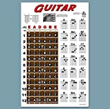 Laminated Guitar Fretboard & Chord Chart - Easy Instructional Poster for Beginner 11'x17'