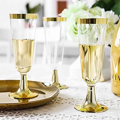 NIUPAN 5.5 OZ 150ml plastic goud getrimd champagneglas Transparant huwelijksbeker Heavy Fancy Party wijnglas Servies 12 stuks |Wegwerp Servies