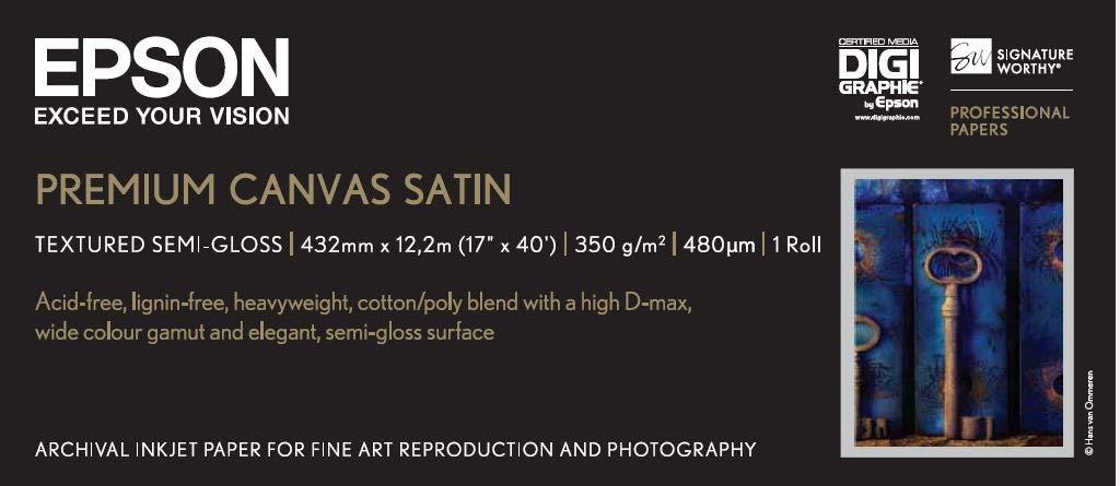 Epson Premium Canvas Satin - Rollo de papel: Amazon.es: Oficina y ...