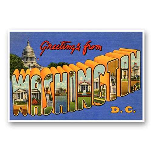 GREETINGS FROM WASHINGTON, DC vintage reprint postcard set of 20 identical postcards. Large letter Washington, D.C. city name post card pack (ca. 1930's-1940's). Made in USA.